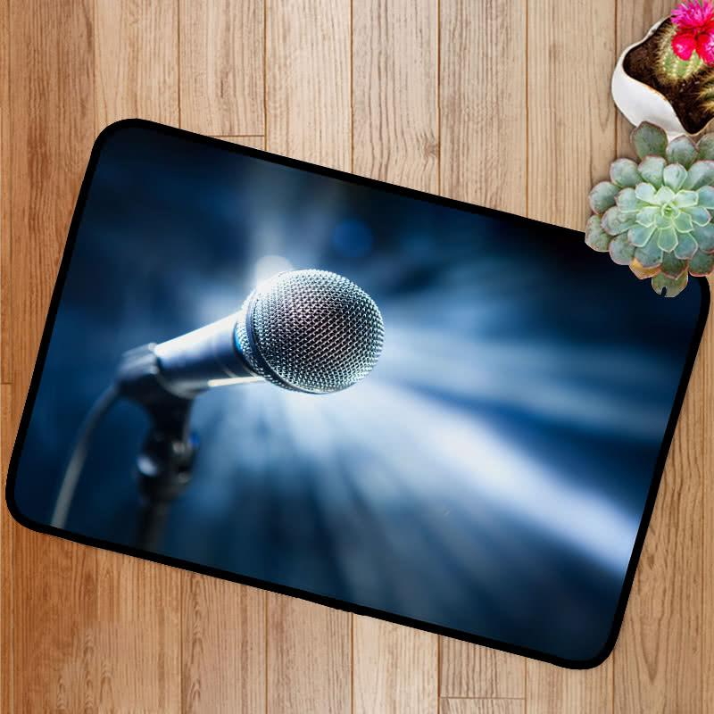 Microphone on stage blue background Bath Mat