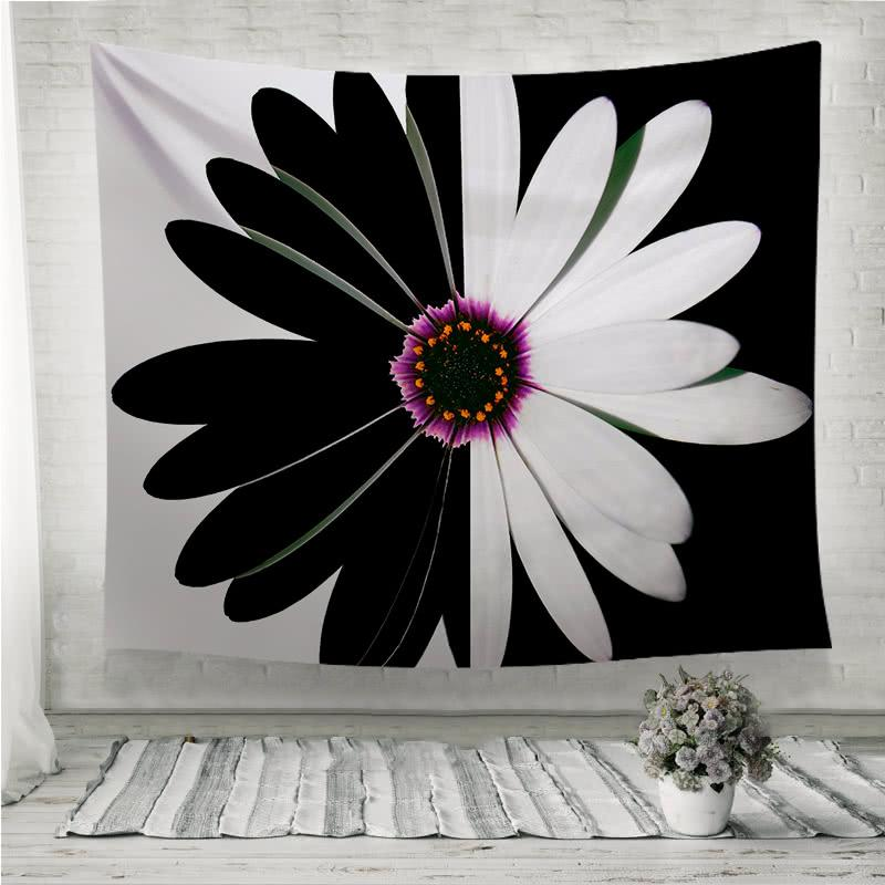 Black and white flower balance Wall Tapestry