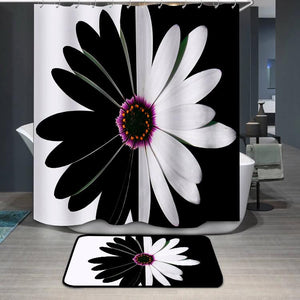Black and white flower balance Shower Curtain