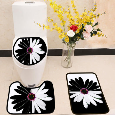Black and white flower balance 3 Piece Toilet Cover Set