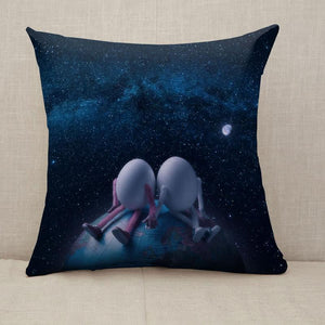Couple of eggs in outer space Throw Pillow [With Inserts]