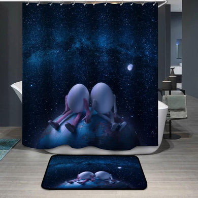 Couple of eggs in outer space Shower Curtain