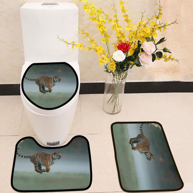 Running tiger on morning green field 3 Piece Toilet Cover Set