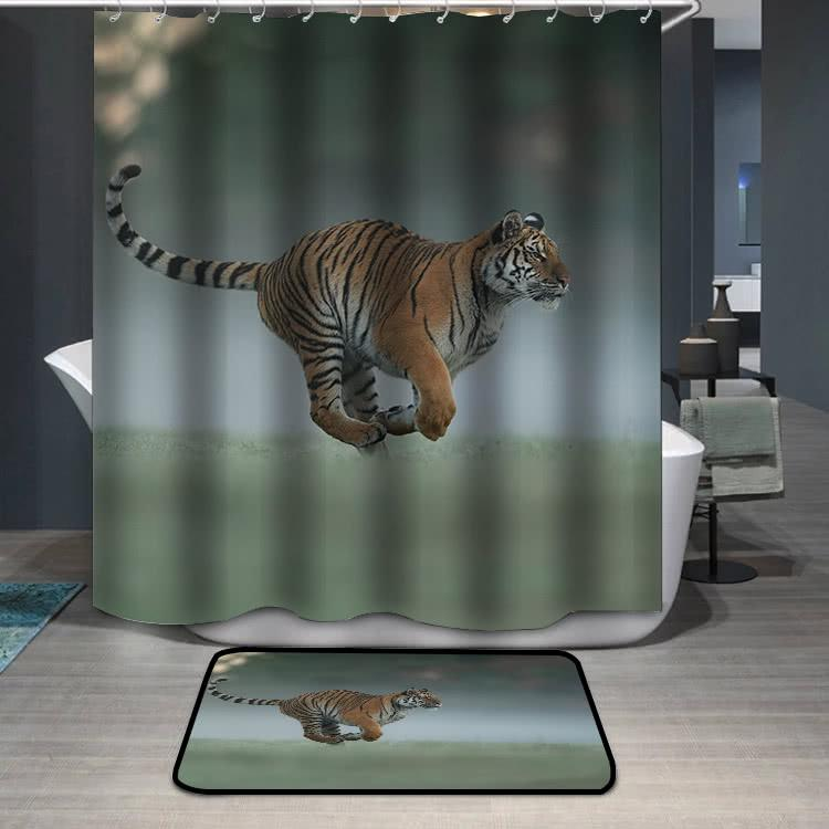 Running tiger on morning green field Shower Curtain