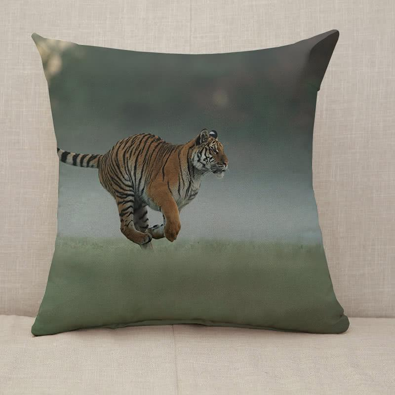 Running tiger on morning green field Throw Pillow [With Inserts]