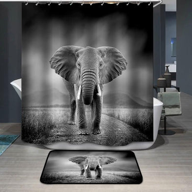 Black and white image of a elephant Shower Curtain