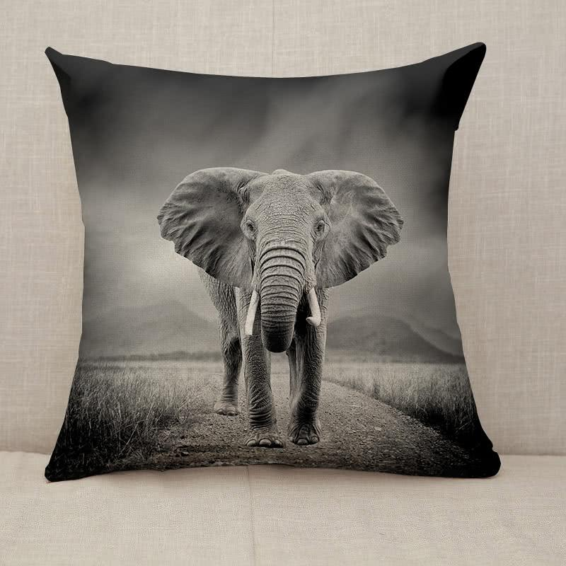 Black and white image of a elephant Throw Pillow [With Inserts]