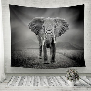 Black and white image of a elephant Wall Tapestry