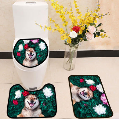 Smiling brown dog lies on a green meadow 3 Piece Toilet Cover Set