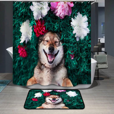 Smiling brown dog lies on a green meadow Shower Curtain