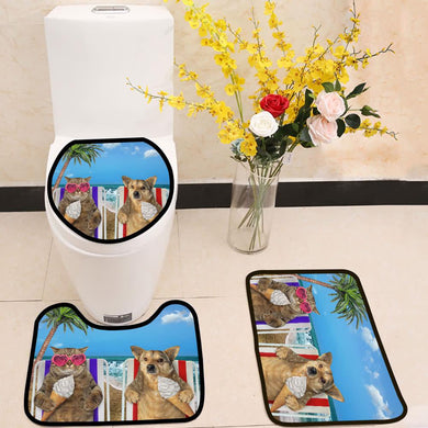 Dog and cat eating ice cream under a palm 3 Piece Toilet Cover Set