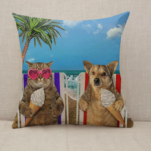 Dog and cat eating ice cream under a palm Throw Pillow [With Inserts]