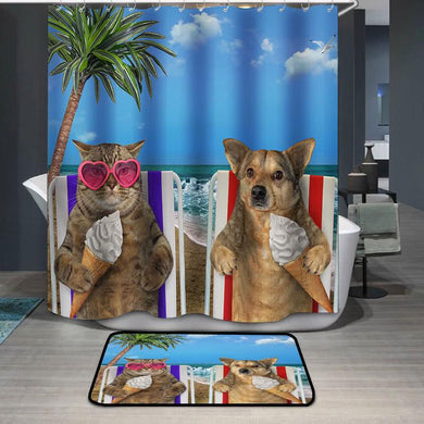 Dog and cat eating ice cream under a palm Shower Curtain