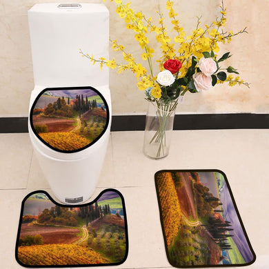 Beautiful golden sunrise in Tuscany Italy 3 Piece Toilet Cover Set