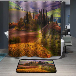 Beautiful golden sunrise in Tuscany Italy Shower Curtain