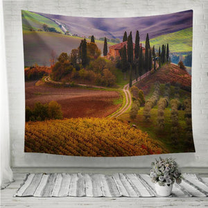 Beautiful golden sunrise in Tuscany Italy Wall Tapestry