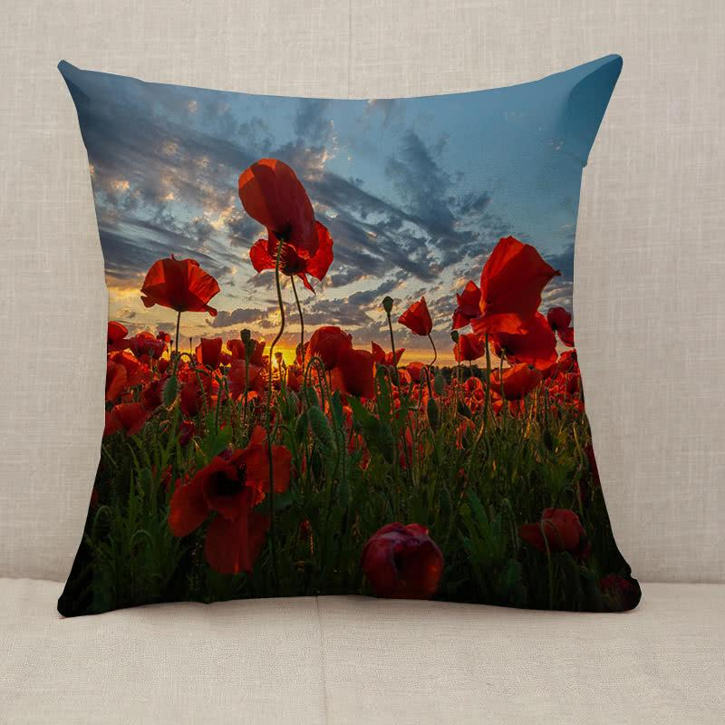 Panorama of a field of red poppies Throw Pillow [With Inserts]