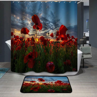 Panorama of a field of red poppies Shower Curtain