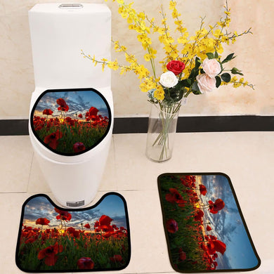 Panorama of a field of red poppies 3 Piece Toilet Cover Set
