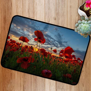 Panorama of a field of red poppies Bath Mat