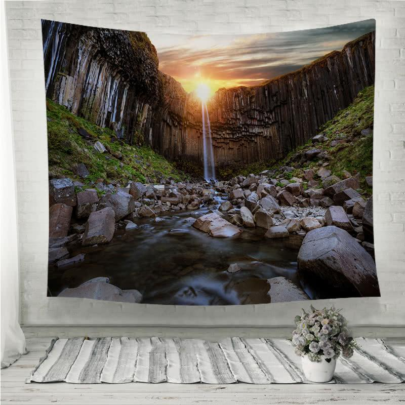 Svartifoss waterfall with basalt stone pillars Wall Tapestry