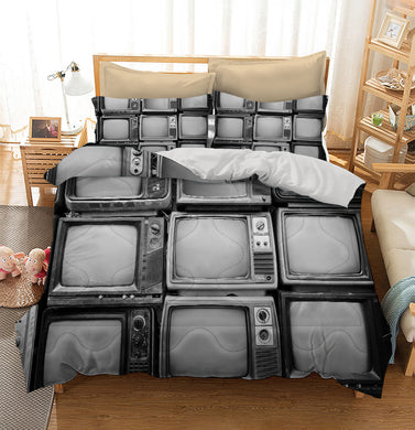 Pattern wall of pile black and white retro television Custom Printing Comforter