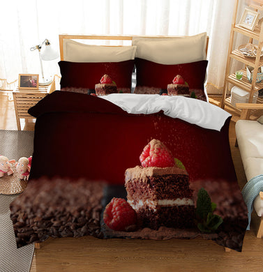 Chocolate cake with raspberry color biscuit Custom Printing Comforter