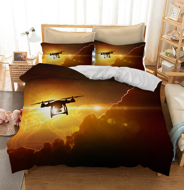 Flying drone in glowing red sunset sky Custom Printing Comforter