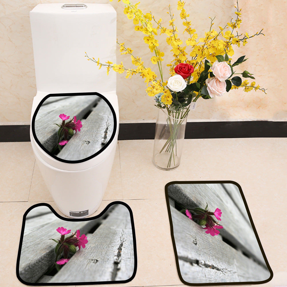 Flower in a wooden crack 3 Piece Toilet Cover Set