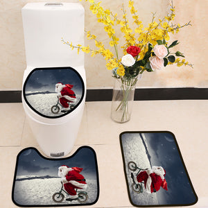 Santa claus riding bike on the mountain 3 Piece Toilet Cover Set