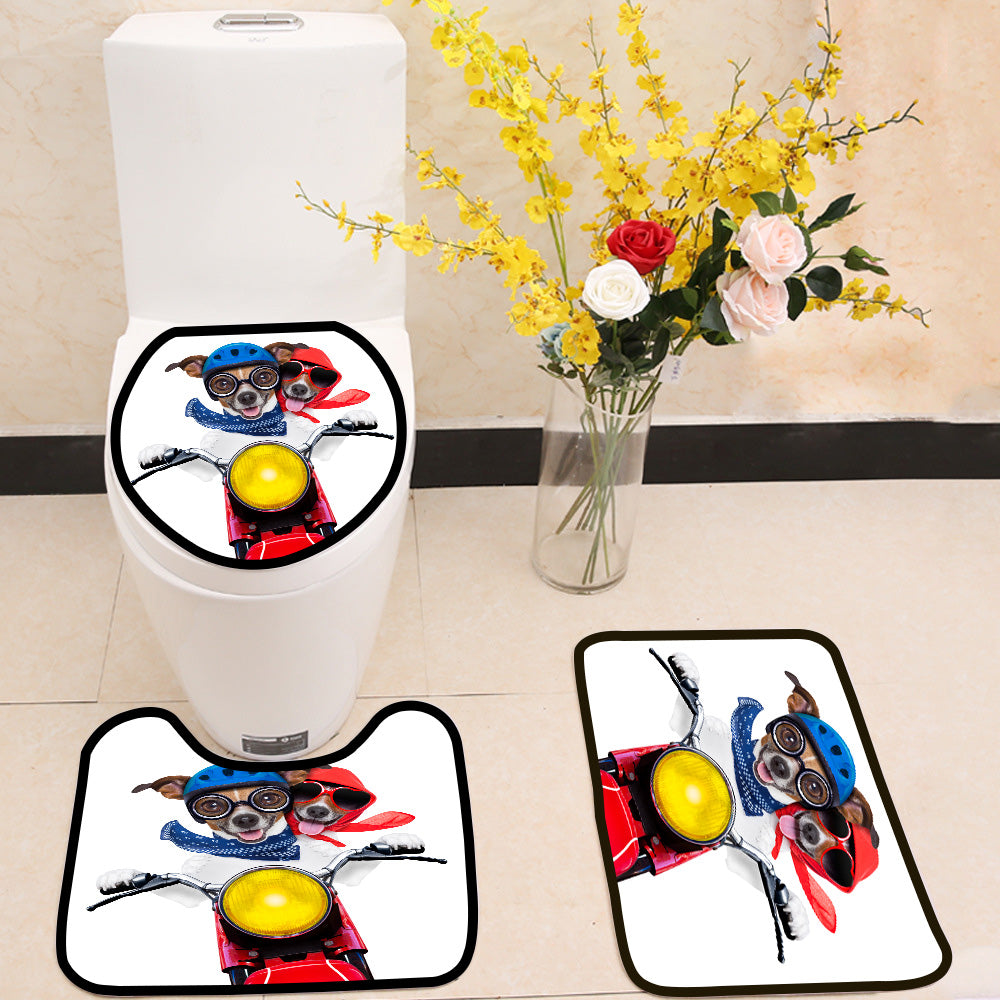 Crazy Motorbike couple of dogs 3 Piece Toilet Cover Set