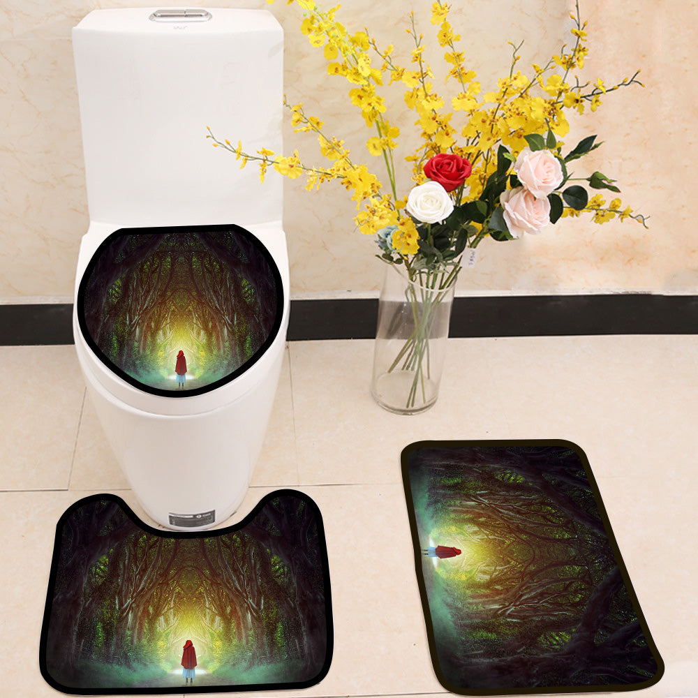 Fantasy and surreal Dark Forest Road 3 Piece Toilet Cover Set
