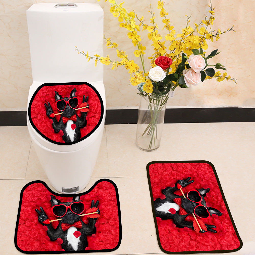 Valentines dog in love 3 Piece Toilet Cover Set
