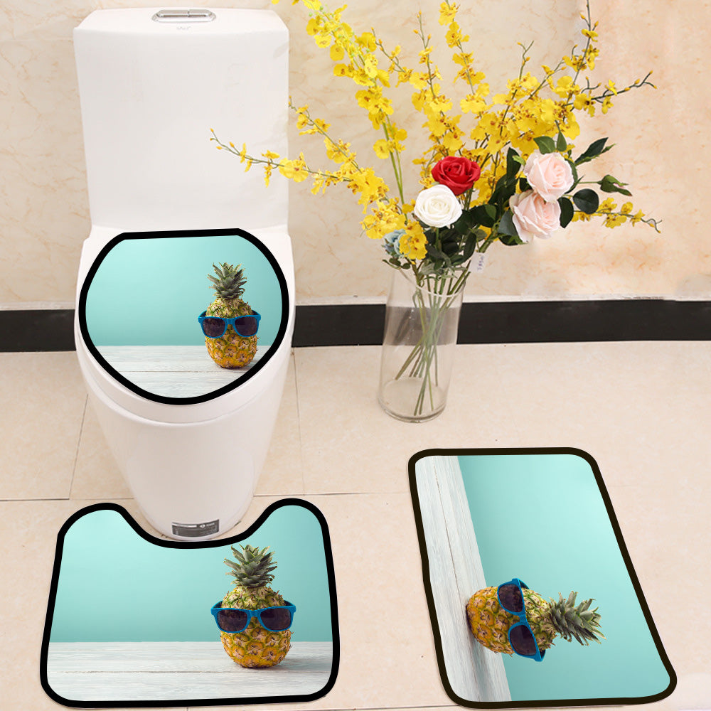 Pineapple with sunglasses on wooden table 3 Piece Toilet Cover Set