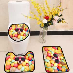Happy easter dog with eggs 3 Piece Toilet Cover Set