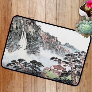 Traditional Chinese painting mountain and floating clouds Bath Mat