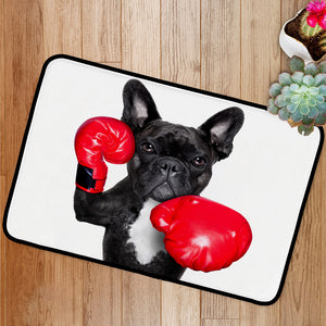 French bulldog boxing dog with big red gloves Bath Mat