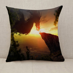 Man and dragon Fantasy Throw Pillow [With Inserts]