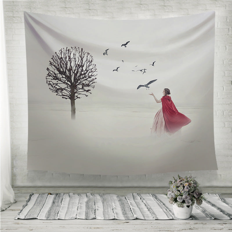 Beautiful woman in medieval dress with birds on foggy field Wall Tapestry