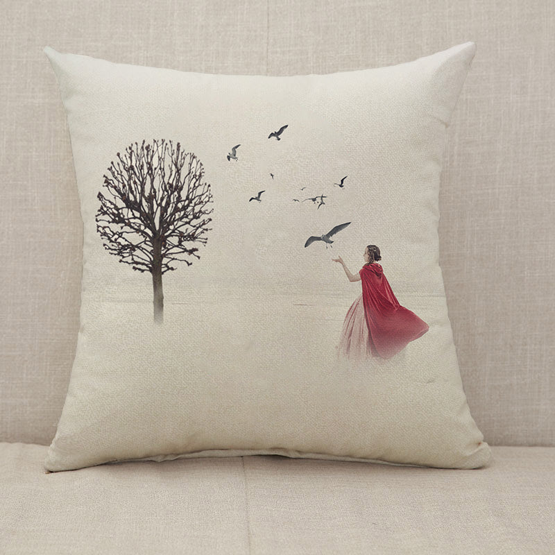 Beautiful woman in medieval dress with birds on foggy field Throw Pillow [With Inserts]