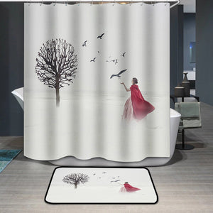 Beautiful woman in medieval dress with birds on foggy field Shower Curtain