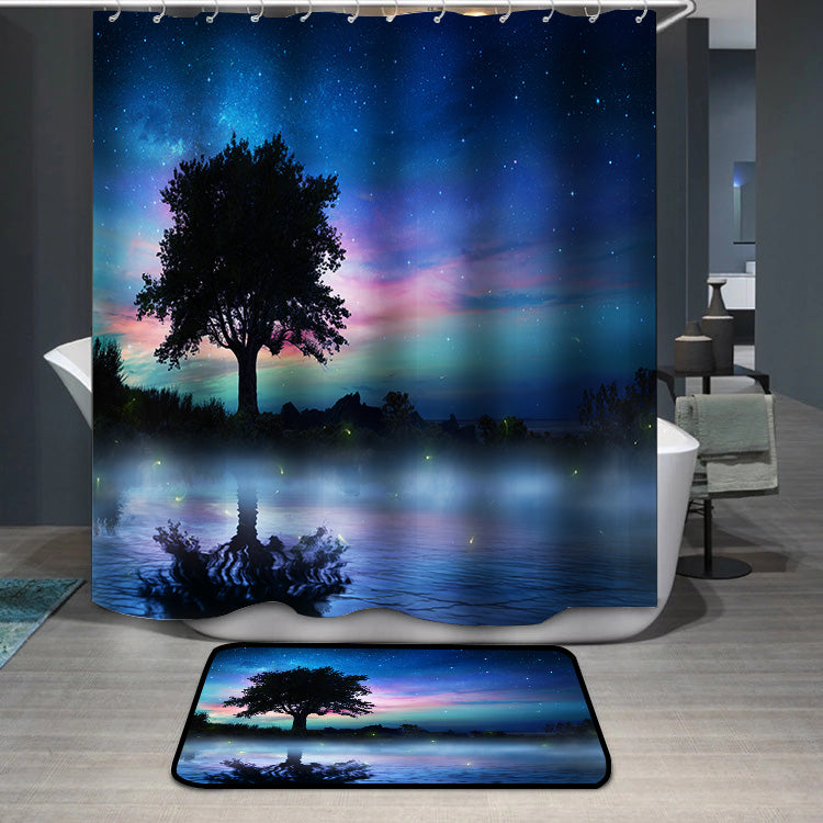 Starry Night With Lonely Tree Shower Curtain