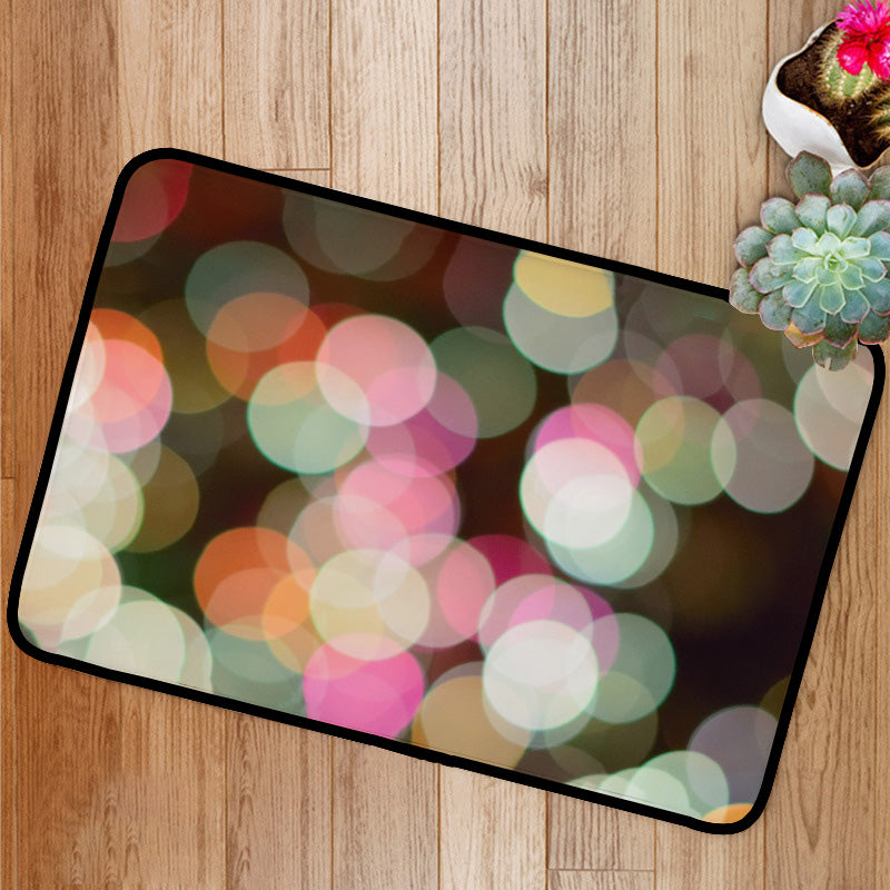 Colorful Christmas lights background blurs Bath Mat