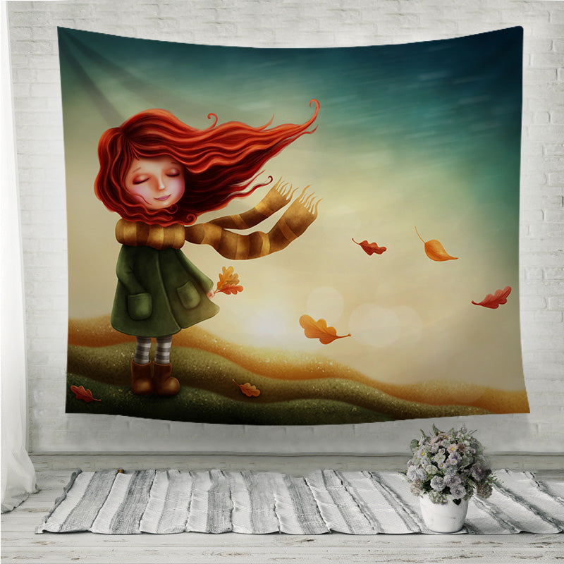 Little fairy girl in autumn Wall Tapestry