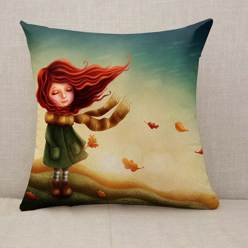 Little fairy girl in autumn Throw Pillow [With Inserts]