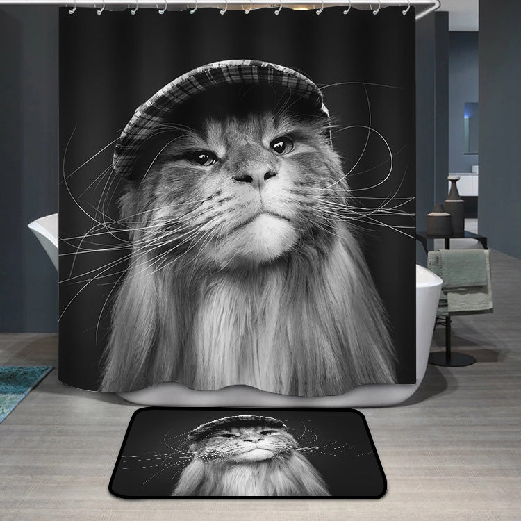 Beautiful maine coon cat in hat Shower Curtain