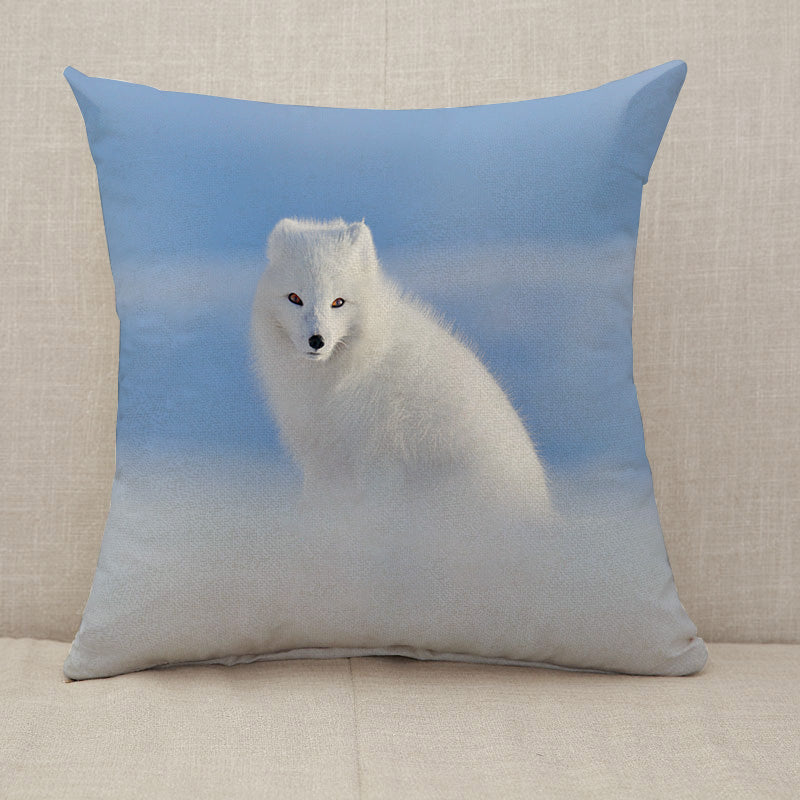 White polar fox in snow Throw Pillow [With Inserts]