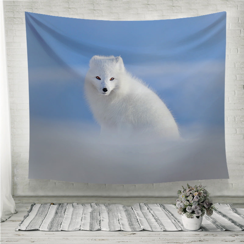 White polar fox in snow Wall Tapestry