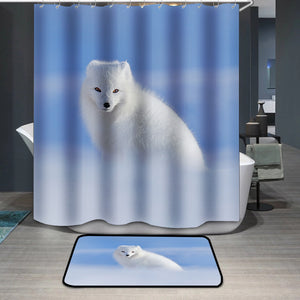 White polar fox in snow Shower Curtain