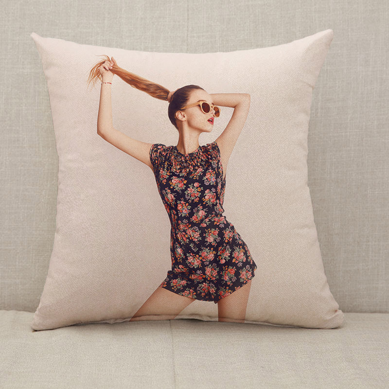 Stylish beauty model girl wearing dark wooden sunglasses and dress Throw Pillow [With Inserts]